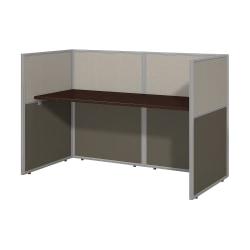 "Bush Business Furniture Easy Office 60""W Cubicle Desk Workstation With 45""H Closed Panels, Mocha Cherry/Silver Gray, Standard Delivery"