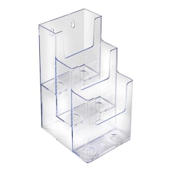 """Azar Displays 3-Tier 3-Pocket Acrylic Trifold Brochure Holders, 9""""H x 4-1/4""""W x 5-1/4""""D, Clear, Pack Of 2 Holders"""