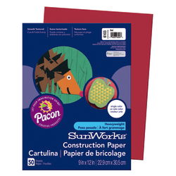 """SunWorks® Construction Paper, 9"""" x 12"""", Red, Pack Of 50"""