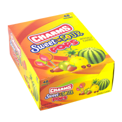 Charms Lollipops, Sweet And Sour Flat Pop, Pack Of 48