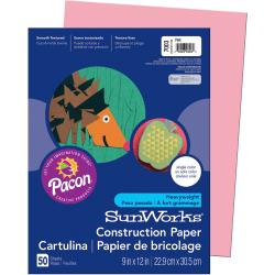 "SunWorks® Construction Paper, 9"" x 12"", Pink, Pack Of 50"