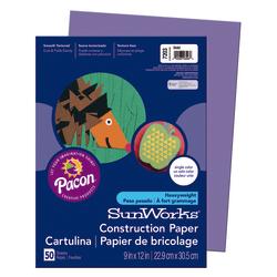 """SunWorks® Construction Paper, 9"""" x 12"""", Violet, Pack Of 50"""