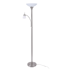 """Black & Decker LED Floor Lamp, 72""""H, Frosted Glass Shade/Satin Nickel Base"""