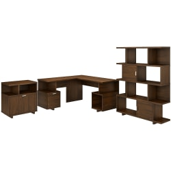 """kathy ireland® Home by Bush Furniture Madison Avenue 60""""W L-Shaped Desk With Lateral File Cabinet And Bookcase, Modern Walnut, Standard Delivery"""