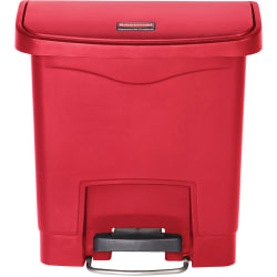 """Rubbermaid Commercial 4G Slim Jim Front Step Container - Step-on Opening - 4 gal Capacity - Rectangular - Manual - Durable, Foot Pedal, Easy to Clean, Hinged, Fire-Safe, Chemical Resistant - 15.7"""" Height x 9.1"""" Width - Plastic, Resin - Red - 1 Each"""