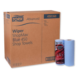 "Tork Advanced ShopMax Wiper 450 Wipes, 11"" x 9-7/16"", Blue, 60 Wipes Per Roll, Carton Of 30 Rolls"