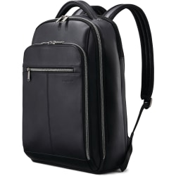 "Samsonite Carrying Case (Backpack) for 15.6"" Notebook - Black - Damage Resistant, Scuff Resistant, Scratch Resistant - Leather, Mesh Pocket - Shoulder Strap - 18"" Height x 5.5"" Width - 1 Pack"