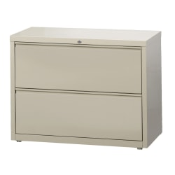 "WorkPro® 36""W Lateral 2-Drawer File Cabinet, Metal, Putty"