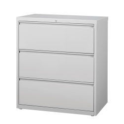 """WorkPro® 36""""W Lateral 3-Drawer File Cabinet, Metal, Light Gray"""