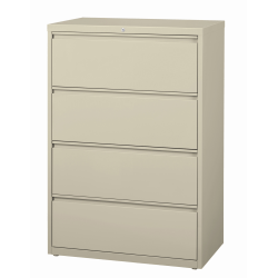 """WorkPro® 36""""W Lateral 4-Drawer File Cabinet, Metal, Putty"""