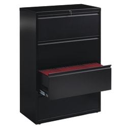 "WorkPro® 36""W Lateral 4-Drawer File Cabinet, Metal, Black"