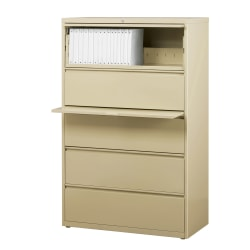 "WorkPro® 36""W Lateral 5-Drawer File Cabinet, Metal, Putty"