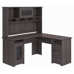 "Bush Furniture Cabot 60""W L-Shaped Desk With Hutch, Heather Gray, Standard Delivery"