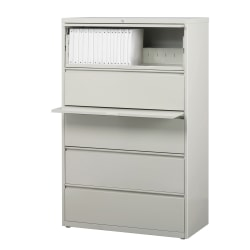 "WorkPro® 36""W Lateral 5-Drawer File Cabinet, Metal, Light Gray"
