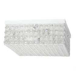 "Elegant Designs Elipse Crystal 2-Light Square Flush Mount Ceiling Fixture, 5""H, White"