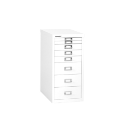 "Bisley 15""D Vertical 8-Drawer Under-Desk Storage Cabinet, Metal, White"