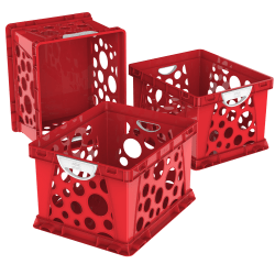 Storex® File Crates With Handles, Medium Size, Classroom Red, Pack Of 3