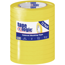 "Tape Logic® Color Masking Tape, 3"" Core, 0.5"" x 180', Yellow, Case Of 12"
