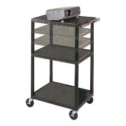 "H. Wilson Height-Adjustable Plastic Cart, 42""H x 24""W x 18""D, Black"