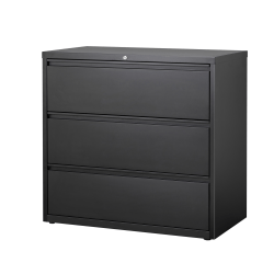 "WorkPro® 42""W Lateral 3-Drawer File Cabinet, Metal, Black"
