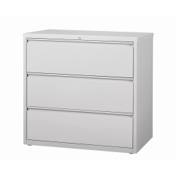 "WorkPro® 42""W Lateral 3-Drawer File Cabinet, Metal, Light Gray"