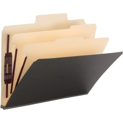 """Smead® SuperTab® Classification Folders With SafeSHIELD®, 2 Dividers, 2/5"""" Tab, Right Tab Position, Letter Size, Dark Gray, Box Of 10"""