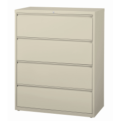 "WorkPro® 42""W Lateral 4-Drawer File Cabinet, Metal, Putty"