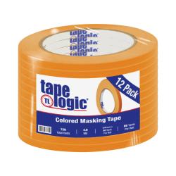 "Tape Logic® Color Masking Tape, 3"" Core, 0.25"" x 180', Orange, Case Of 12"