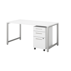 """Bush Business Furniture 400 Series Table Desk With 3 Drawer Mobile File Cabinet, 60""""W x 30""""D, White, Standard Delivery"""