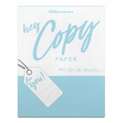 "Office Depot® Brand School Copy Paper, Letter Size (8 1/2"" x 11""), 20 Lb, Blue, Ream Of 300 Sheets"