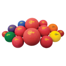 Champion Sports Mixed Playground Ball Set - Assorted, Blue, Red - Nylon, Rubber