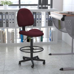 Flash Furniture Ergonomic Adjustable Drafting Chair, Burgundy/Black
