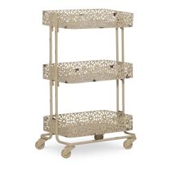 "Linon Nicole 3-Tier Metal Storage Cart, 29-11/16""H x 17-1/8""W x 12-7/16""D, Cream"