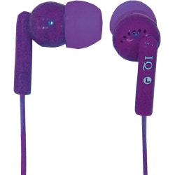 IQ Sound IQ-106 Digital Noise Reduction Stereo Earphones - Stereo - Purple - Mini-phone (3.5mm) - Wired - 32 Ohm - 20 Hz 20 kHz - Earbud - Binaural - In-ear - 4 ft Cable