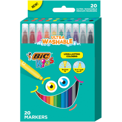 BIC® Kids Coloring Markers, Ultra-Washable, Assorted Colors, Pack Of 20 Markers