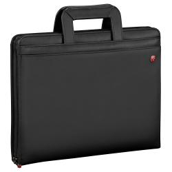 "Wenger® Venture Zippered Presentation Padfolio, 13 13/16""H x 12 7/16""W x 3 1/8""D, Black"