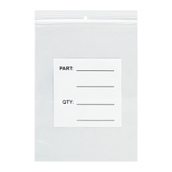 """Office Depot® Brand Parts Bags With Hang Holes, 3"""" x 5"""", Clear/White, Case Of 1,000"""