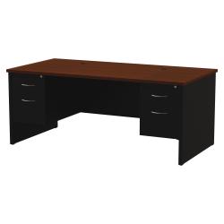 "WorkPro® Modular 72""W x 36""D Double Pedestal Desk, Black/Walnut"
