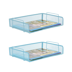 "Mind Reader Desktop 2-Piece Stackable Letter Tray, 3""H x 13-1/4""W x 9-1/2""D, Turquoise"