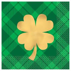 "Amscan St. Patrick's Day 2-Ply Beverage Napkins, 5"" x 5"", Plaid Gold Shamrock, 16 Napkins Per Sleeve, Pack Of 4 Sleeves"