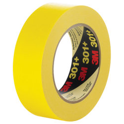 "3M™ 301+ Masking Tape, 3"" Core, 3"" x 180', Yellow, Case Of 12"