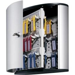 "Durable 54-Key Locking Tag-Style Aluminum Key Tag Cabinet, 11"" x 11 3/4"" x 4 5/8"", Silver"