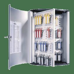 "Durable 72-Key Locking Tag-Style Aluminum Key Tag Cabinet, 15 3/4"" x 11 3/4"" x 4 5/8"", Silver"