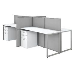 """Bush Business Furniture Easy Office 60""""W 4-Person Cubicle Desk With File Cabinets And 45""""H Panels, Pure White/Silver Gray, Standard Delivery"""