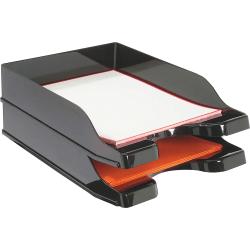 "deflecto Docutray Multi-Directional Stackg Trays - 2 Tier(s) - 2.5"" Height x 10.1"" Width x 14"" Depth - Desktop - Black - Polystyrene - 2 / Set"