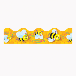"TREND Terrific Trimmer® Borders, 2 1/4"" x 39"", Busy Bees, Pre-K - Grade 6, Pack Of 12"