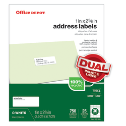 "Office Depot® Brand 100% Recycled Mailing Labels, 505-O004-0027, Address, 1"" x 2 5/8"", White, Box Of 750"