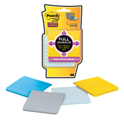 "Post-it® Notes Super Sticky Full Stick Notes, 3"" x 3"", Assorted Colors, Pack Of 4 Pads"