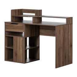 """South Shore Holland 48""""W Desk With Hutch And Storage, Natural Walnut"""