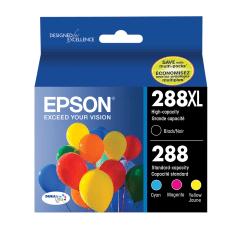 Epson® 288XL/288 DuraBrite® Ultra High-Yield Black And Cyan/Magenta/Yellow Ink Cartridges, Pack Of 4, T288XL-BCS